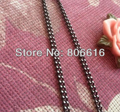 3MM/w 9M/lot Black Color Mill White Aluminum Link Chains Jewelry Findings/Accessories