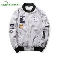 e4ac80e9457f5 Unisplendor Fashion Men Pilot Jacket Bomber Jacket Boy Hip Hop Patch  Designs Slim Fit Male Coat