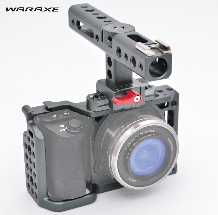 WARAXE A6 Kit Camera Cage For NATO Rail Handle Grip for Sony ILCE 6000 6300 A6500 1/4 and 3/8 Threaded Holes Cold Shoe Base