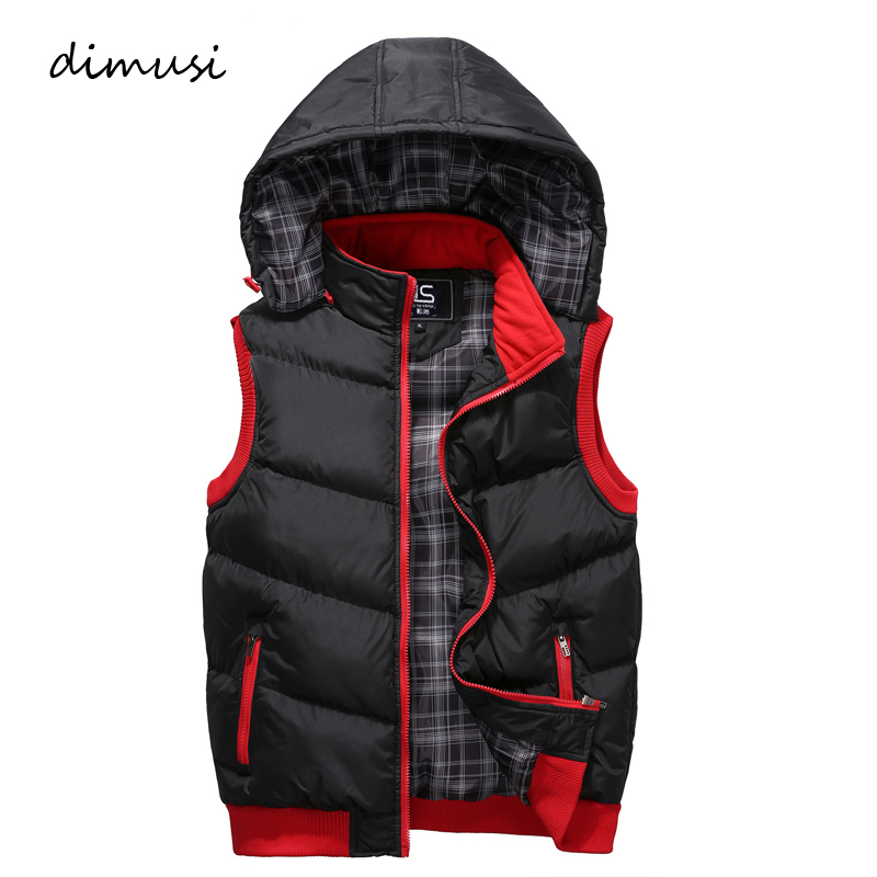 DIMUSI Mens Vests Spring Winter Mens Fashion Sleeveless Jackets Male Cotton-Padded Vests Men Thicken Brand Waistcoats 5XL,YA767