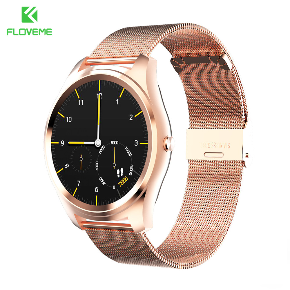 FLOVEME Bluetooth Smart Watch Full Stainless Steel Smartwatch For Apple iOS iPhone Samsung Android Watch Wearable Device Watches