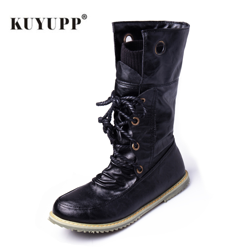 Snow Winter Women Boots Mid Calf Leather Motorcycle Boots