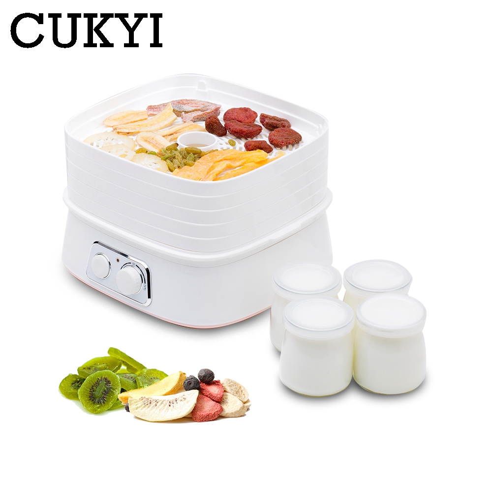 CUKYI Five Layers Dried Food Dehydrator Fruit Vegetable Herb Pet Meat Drying Machine Mini Snacks Air Dryer 5 trays Yogurt Maker qbang abs portable dried fruit machine 500w 5 layers fast food dehydrator fruit vegetable storage air drying machine pet snacks