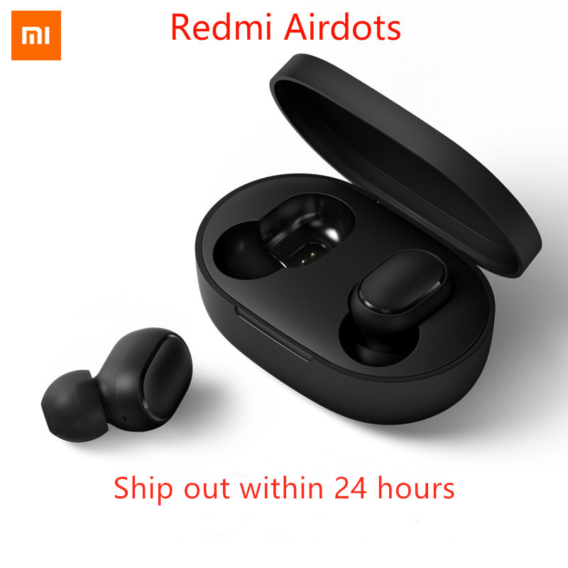 Recentes em estoque Xiaomi Redmi Airdots TWS Bluetooth BT 5.0 Eeadphones graves Fone de Ouvido Estéreo Com Microfone Handsfree Fones de Ouvido Controle AI