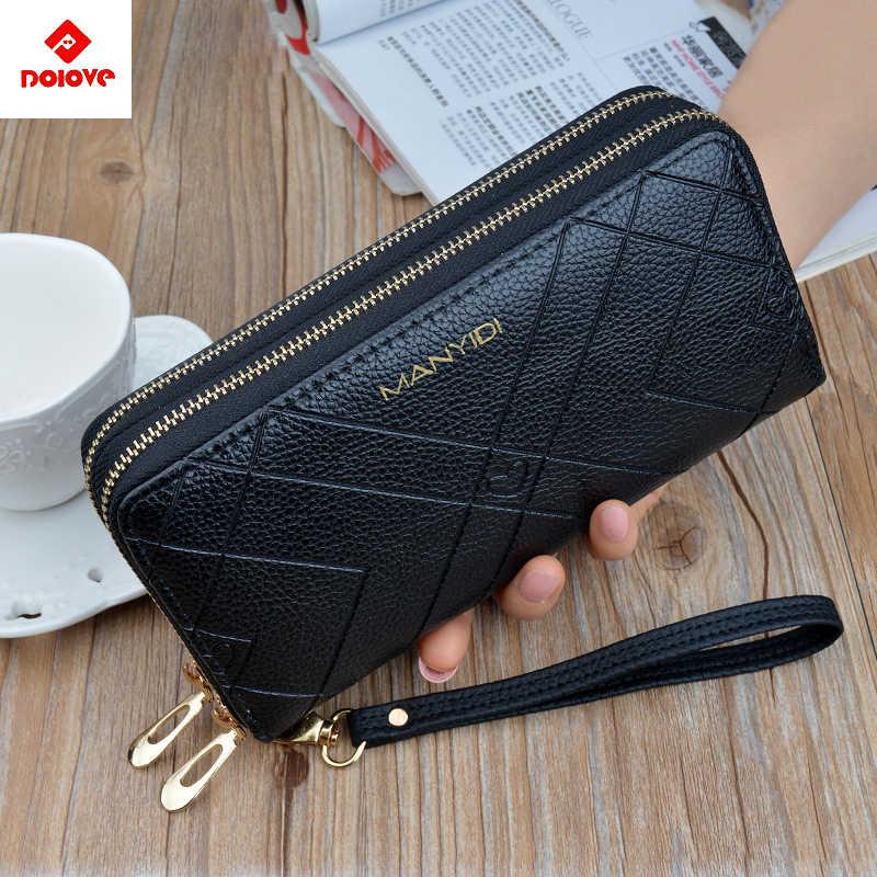 Torby na telefon portfele damskie duże damskie torebki skórzane marki Retro damskie długie portfele damskie karty sprzęgła podwójny zamek błyskawiczny