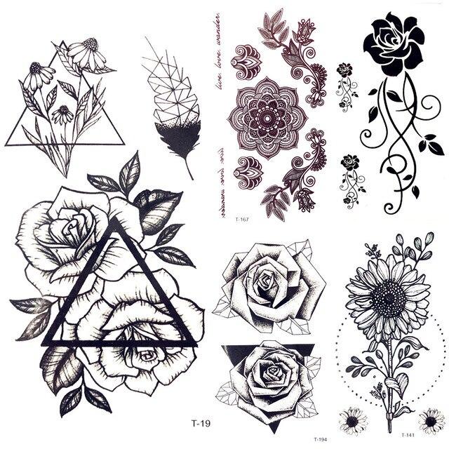 Triangle Noir Rose Tatouage Temporaire Femmes Geometrique Plume