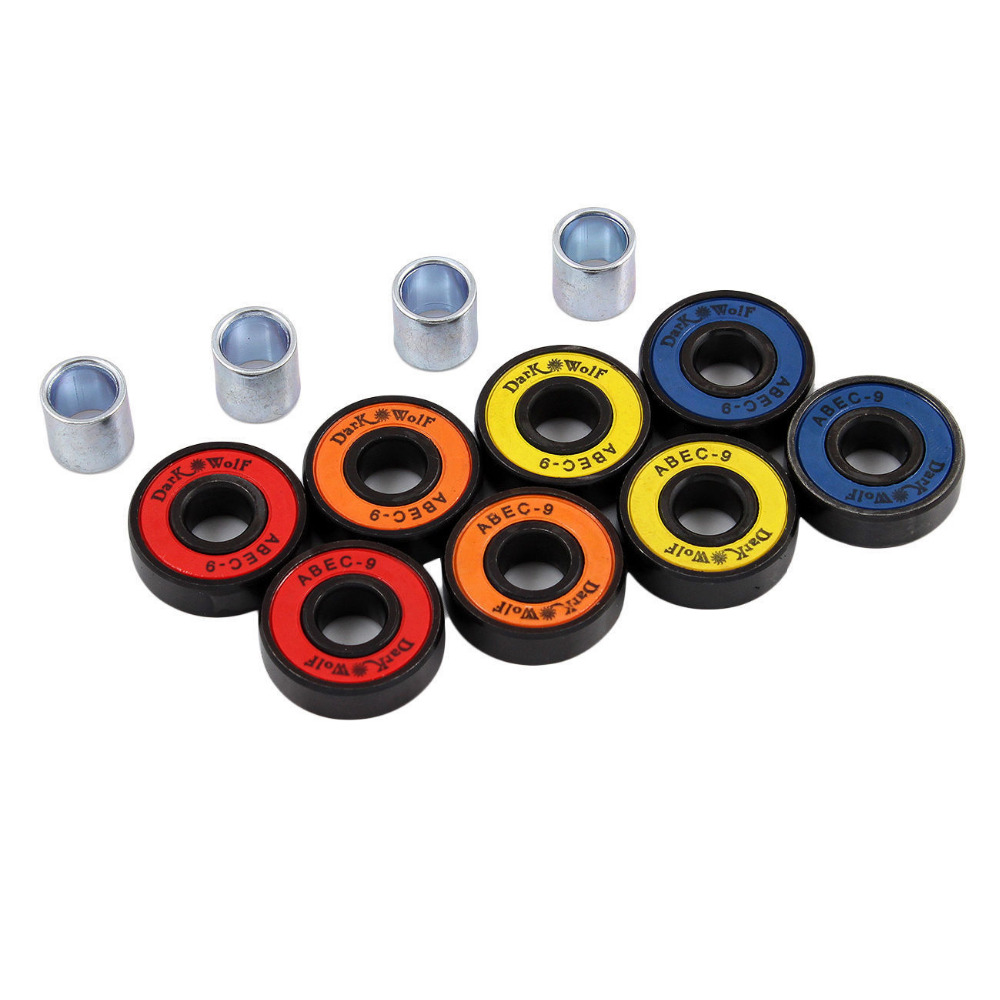 Details about  Set of Dark Wolf Skateboard Bearings ABEC Multi Color 8pcs with 4pcs Spacers
