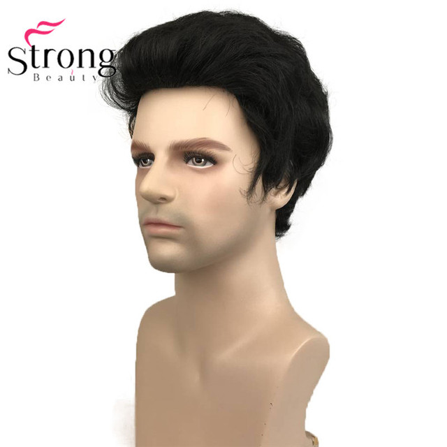 StrongBeauty Black Short Mens Wigs Synthetic Full Wig for Men