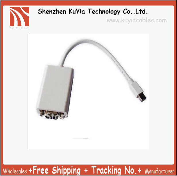 Free Shipping +Tracking number+ 2pcs/lot  mini  display port to vga adapter for Macbook of vga cable for apple