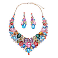 2016 Jewelry Sets Crystal Necklace Earring Blue Red Gem Choker Bijoux Costume Large Fashion Necklaces Pendants