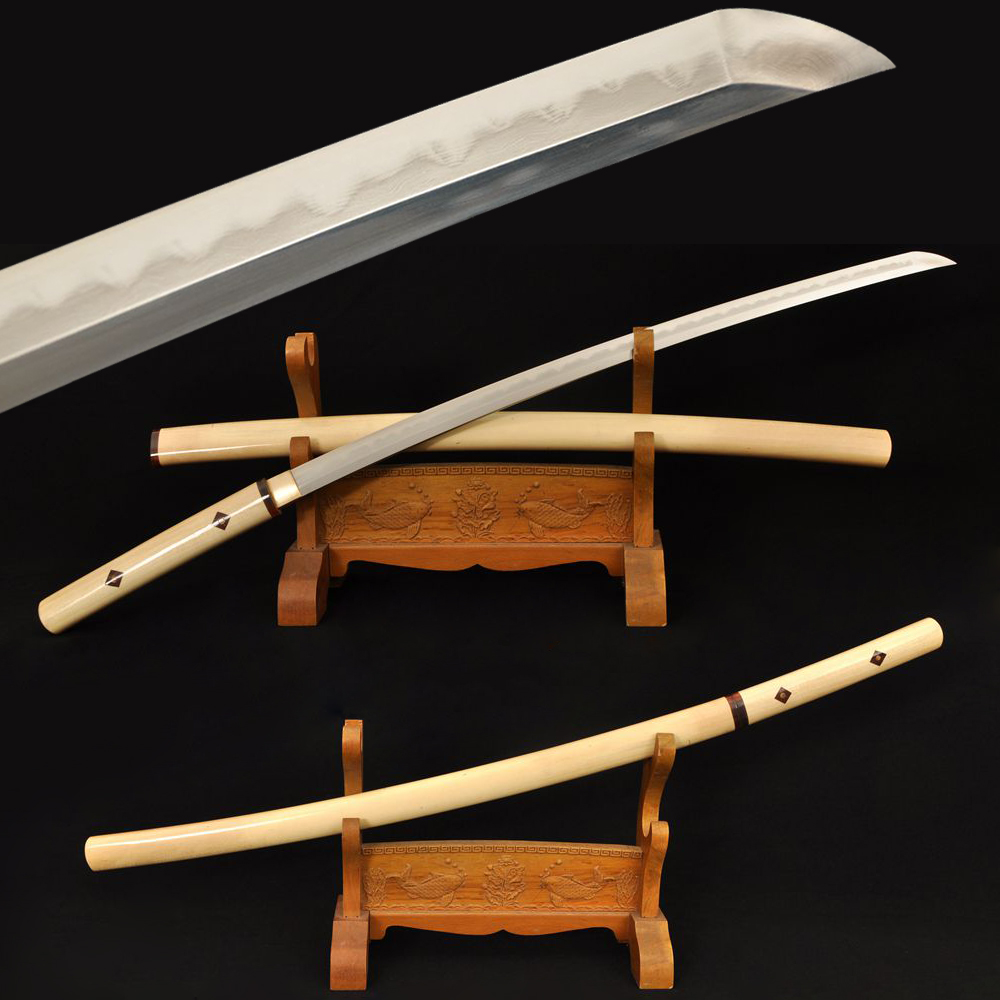 Hand Folding Katana Samurai Japanese Sword Sharp Folded Damascus Steel Full Tang Blade Wooden Saya Japan Knife Battle Ready Sale