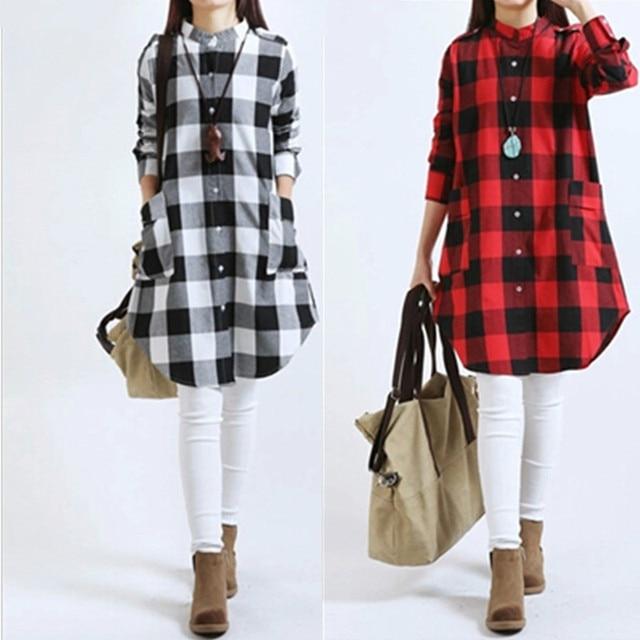54c26e806bcb3 Autumn Plaid Cotton Linen Pregnancy Women Tops Long Sleeve T Shirt Casual  Loose Plus Size Pregnant Woman Clothes Vestidos CE085-in Dresses from  Mother ...