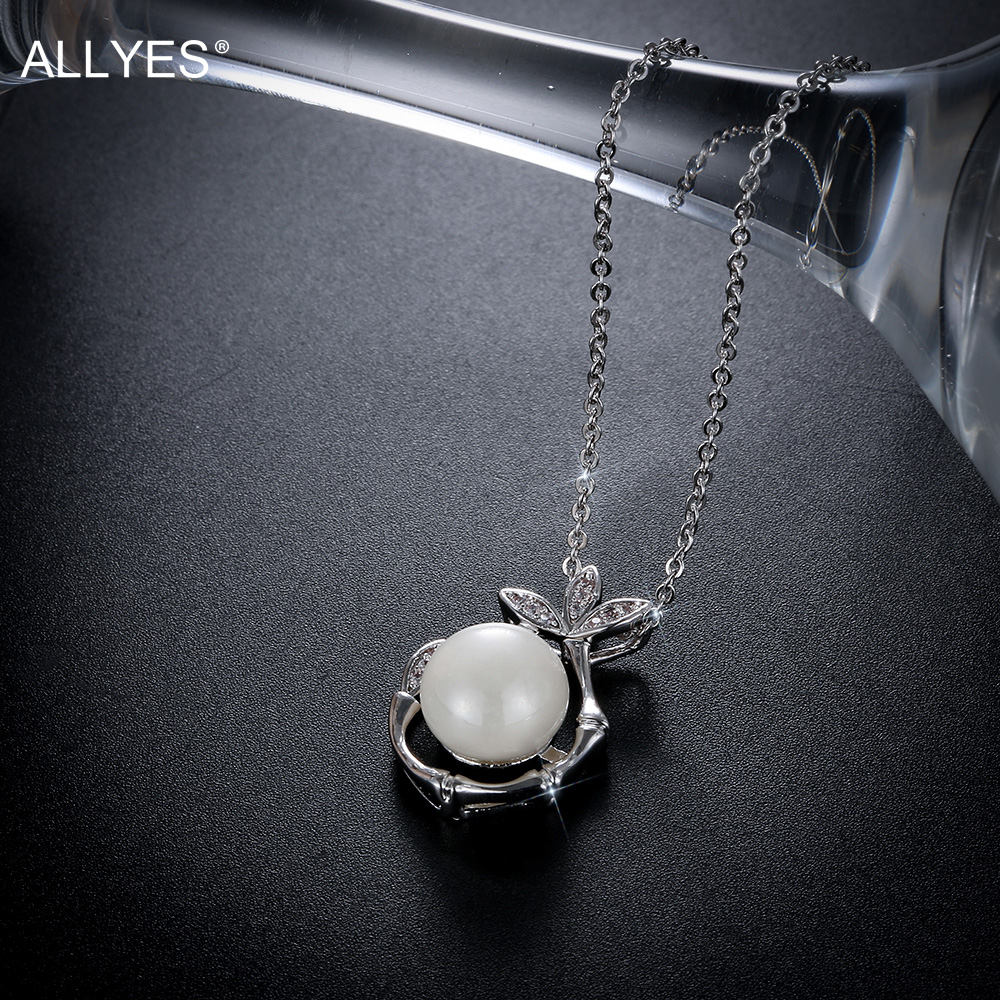 Allyes New Leaves Round Pearl Pendant Necklace Office Lady White Gold Color 18  Inch Long Chain Cubic Zircon Colar Kolye