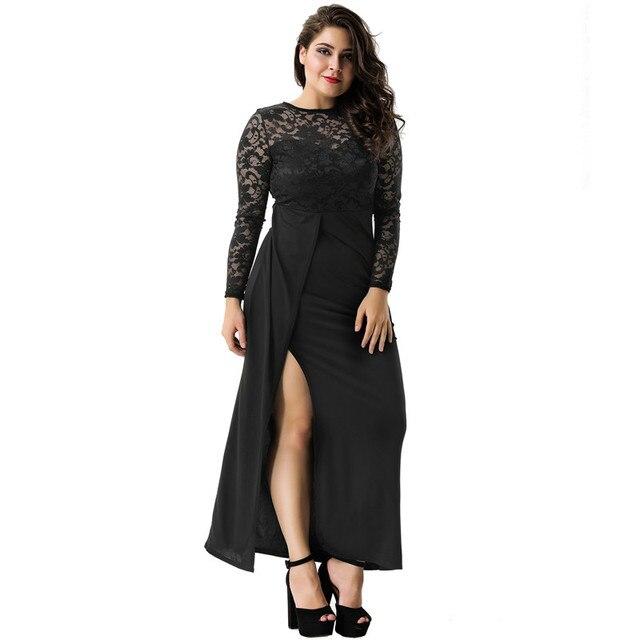 9719eae00c8c R70196 Black Dress Ankle-Length High Waist Long Sleeve Lace Woman Dress  2017 Autumn Cute Party Long Dress Evedy Day Wear