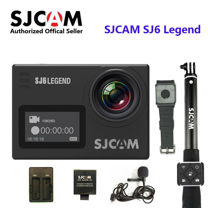 SJCAM SJ6 Legend 4 k 24FPS Caméra D'action À Distance 30 m Étanche Sport DV 2.0 Écran tactile Casque Caméscope Avec accessoires