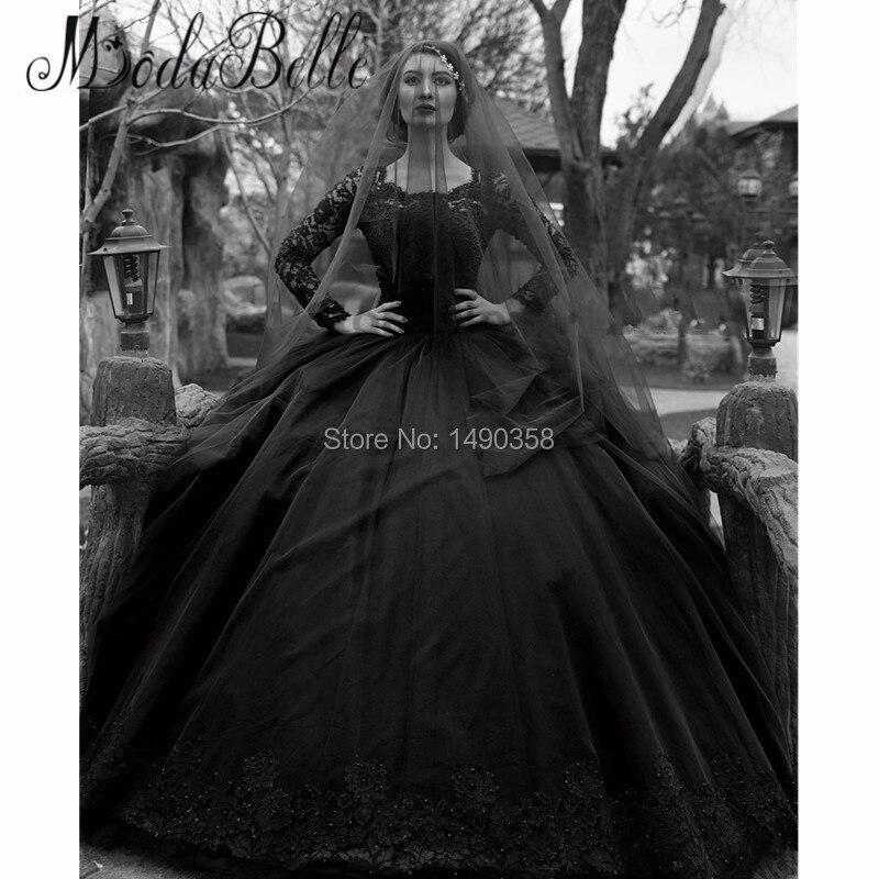 Discount White Lace Long Sleeve Victorian Gothic Wedding: Compra Negro Vestidos De Novia Góticos Online Al Por Mayor