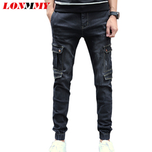 LONMMY Denim overalls mens jeans Multi-pocket Casual trousers cowboy Skinny jeans men Military Fashion Slim fit Small bottom2017