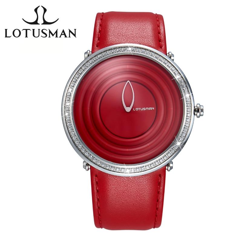 LotusmaN Fashion Women Watch Simple Style Leather Strap Quartz-Watch Luxury Diamond Ladies Dress Watch relogio feminino LZ983 lotusman dl869twa women quartz watch