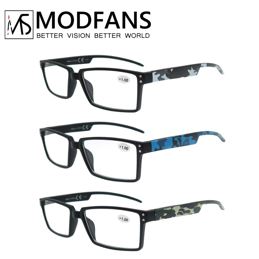 Oversized Reading Glasses Men Squard Vision Presbyopic High Quality Rectangular Eyeglasses With Camouflage Leg +1+1.5+2+2.5+3