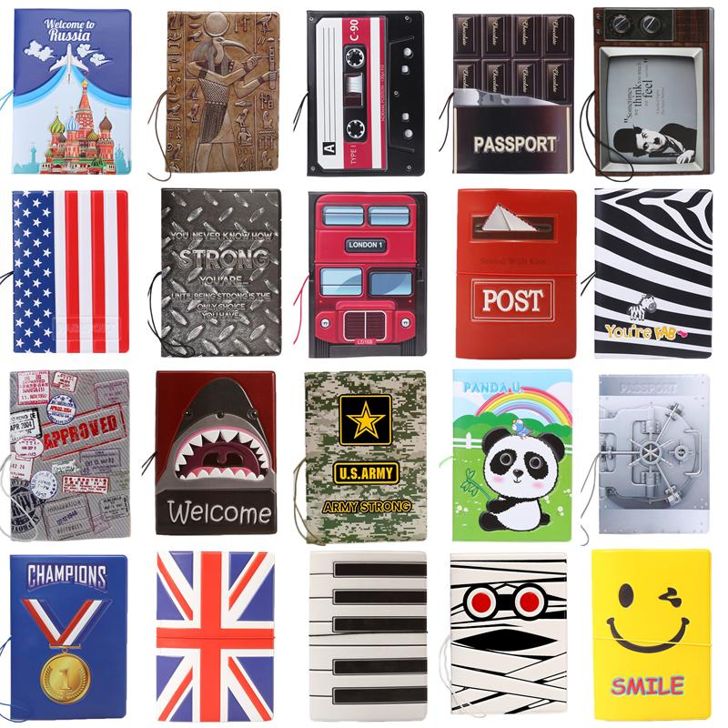 Discount New Fashion Cartoon Super Cool Passport Holder Documents Sets ID Credit Card Bag PVC Bule Passport Cover 14*10CM