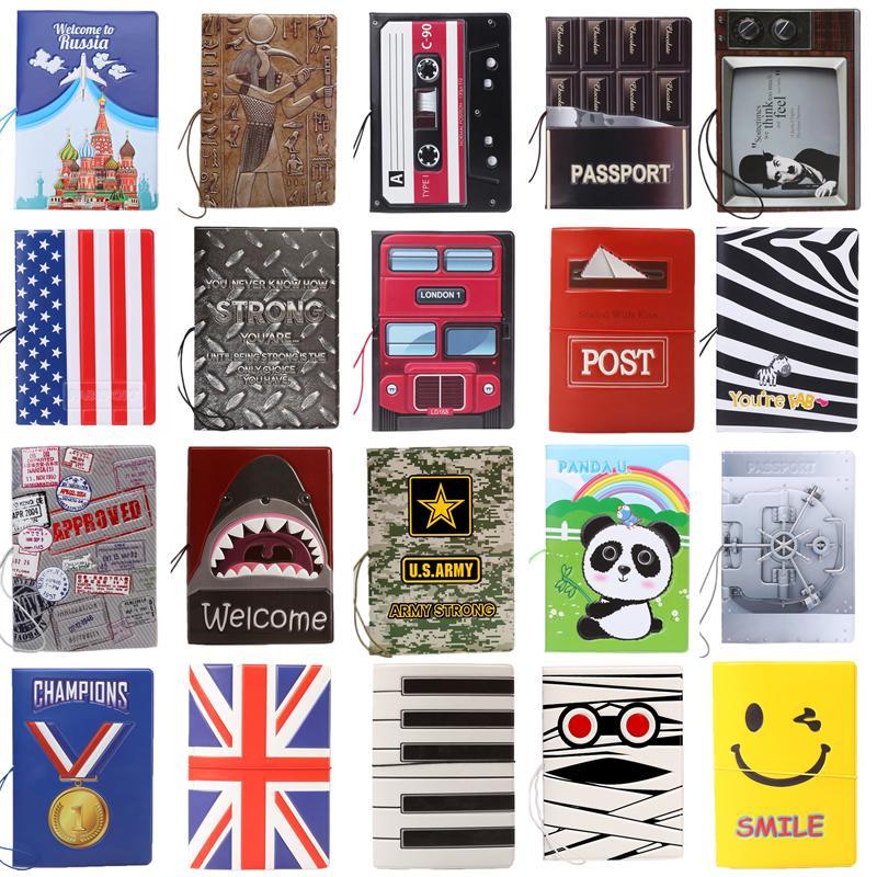Discount New Fashion Cartoon Super Cool Passport Holder Documents Sets ID Credit Card Bag PVC Bule Passport Cover 14*10CM цены онлайн