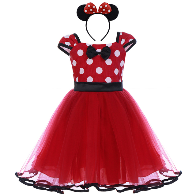 cca6c4ccdae 2pcs Set Toddler Baby Girls Clothes Polka Dot Tulle Minnie Mouse Dress  Headband Princess Birthday Mickey Mouse Cake Smash Outfit