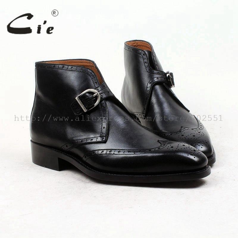 Cie/черные ботинки с квадратным носком, полные броги, медальон, с ремешками, с натуральным лицевым покрытием, из телячьей кожи, goodyear, на заказ, мужские ботинки, A89