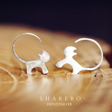 925 Sterling Silver Cute Cat font b Earrings b font For Women Girl Lovely Kitty Tud