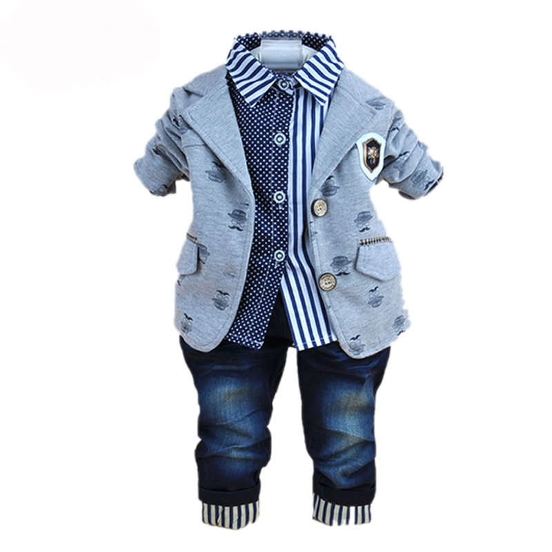 2018 New Fashion Baby Winter Clothing for 3 Pcs Boy Clothes Suits with Polo Shirts Cotton Jeans Pant Sets Kids Clothing Set 2pcs set baby clothes set boy