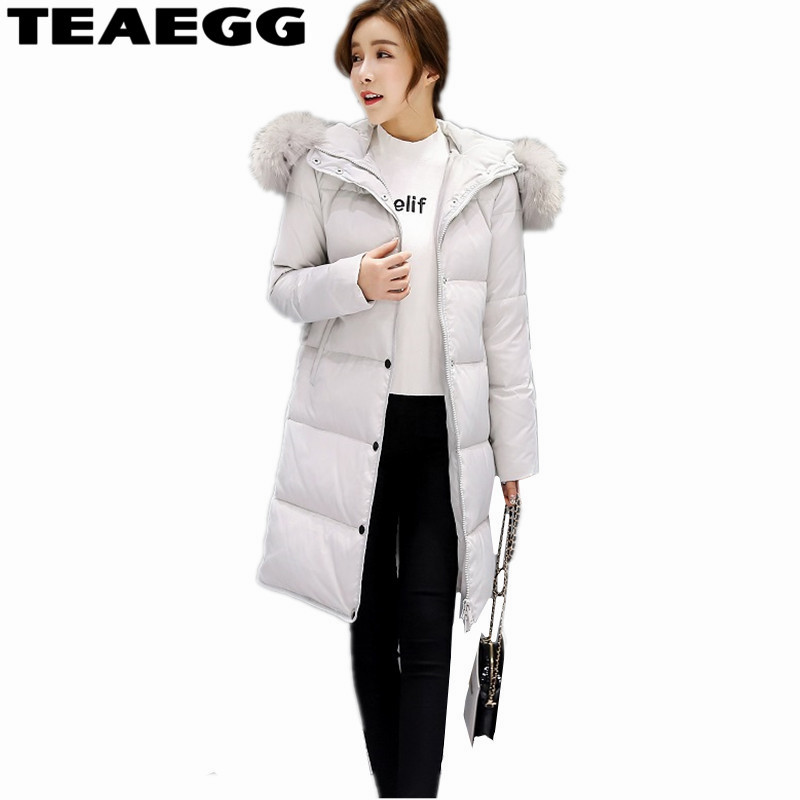 TEAEGG White Duck Down Jackets For Women Plus Size 4XL Hooded Gray 2017 Casual Winter Woman Jacket Down Coat Parkas OutwearAL312