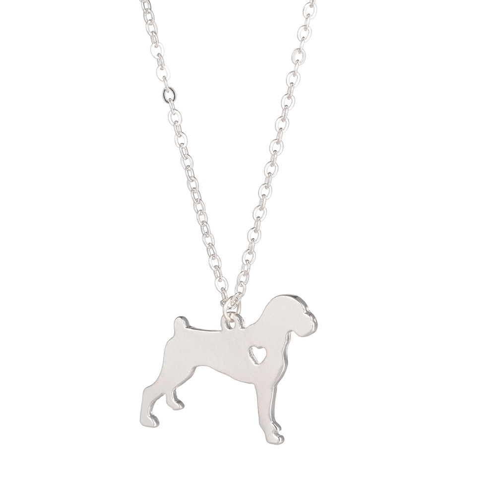 Hot Sale 10pcs Boxer Necklace Dog Pendant Pet Jewelry Silver Charm Pets Dog Memorial Gift Family Pet New Puppy Dog lovers
