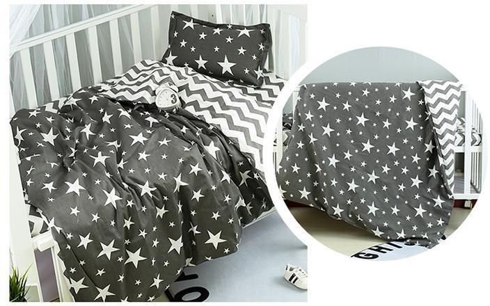 New Arrive Stars Wave Crib Bedding Set For Newborns Cartoon Pattern Baby Bed Linens ,Duvet/Sheet/Pillow, With Filling