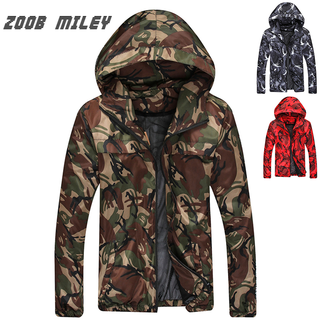 New 2016 Hooded Jacket Men Fashion Casual Outerwear Loose Fit Zipper Long Sleeve Camouflage Jackets and Coats Plus Size M-3XL