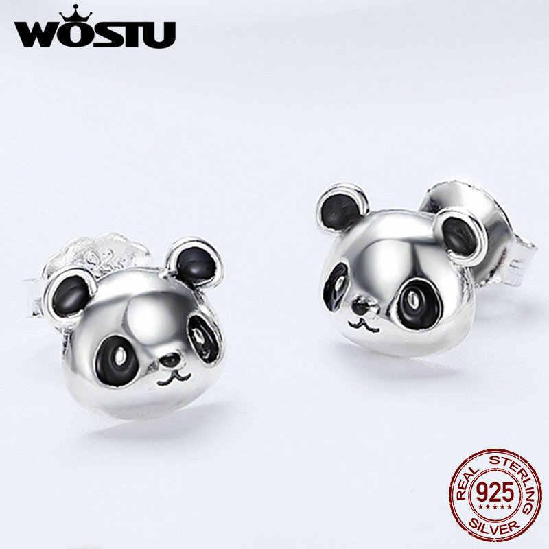 WOSTU Original Brand 100% 925 Sterling Silver Lovely Panda Stud Earrings For Women Fashion Jewelry Gift Dropship FIE386