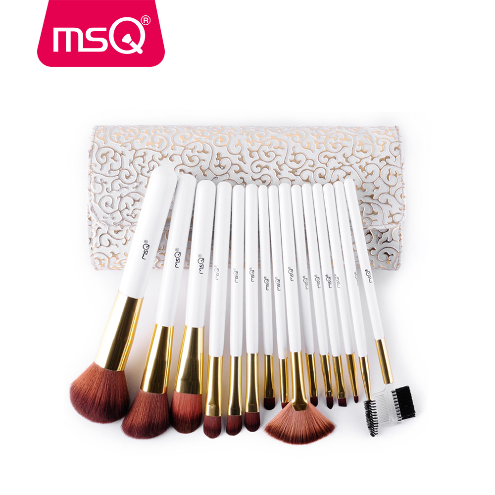 MSQ 15Pcs Fashion Makeup Brushes Set Pro High Quality Make Up Brushes Kits With PU Leather Case Cosmetics Beauty Tools Brush brand new hot selling high quality 24x professional makeup set pro kits brushes kabuki cosmetics brush wholesale retailtool