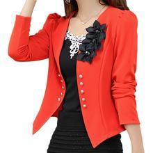 5 x (blazer female slim outerwear blazer elegant spring autumn outerwear coat women ladies jacket clothes orange 4XL