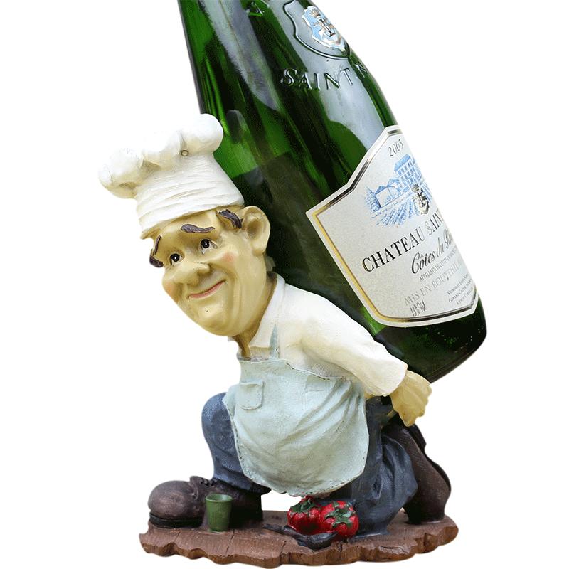Roogo Resin Chef Wine Holder Cook Crafts Statue Bottle Bar Drinking Ornament Craft Accessories