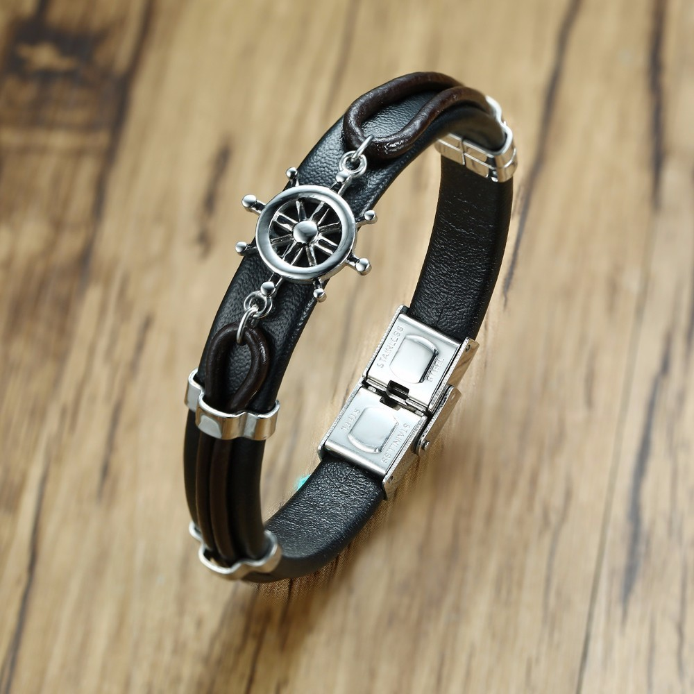 Mens Black Leather Bracelet with Nautical Rudder Charm Bangle Stainless Steel Buckle Wristband for Men Jewelry Braslet 8.5