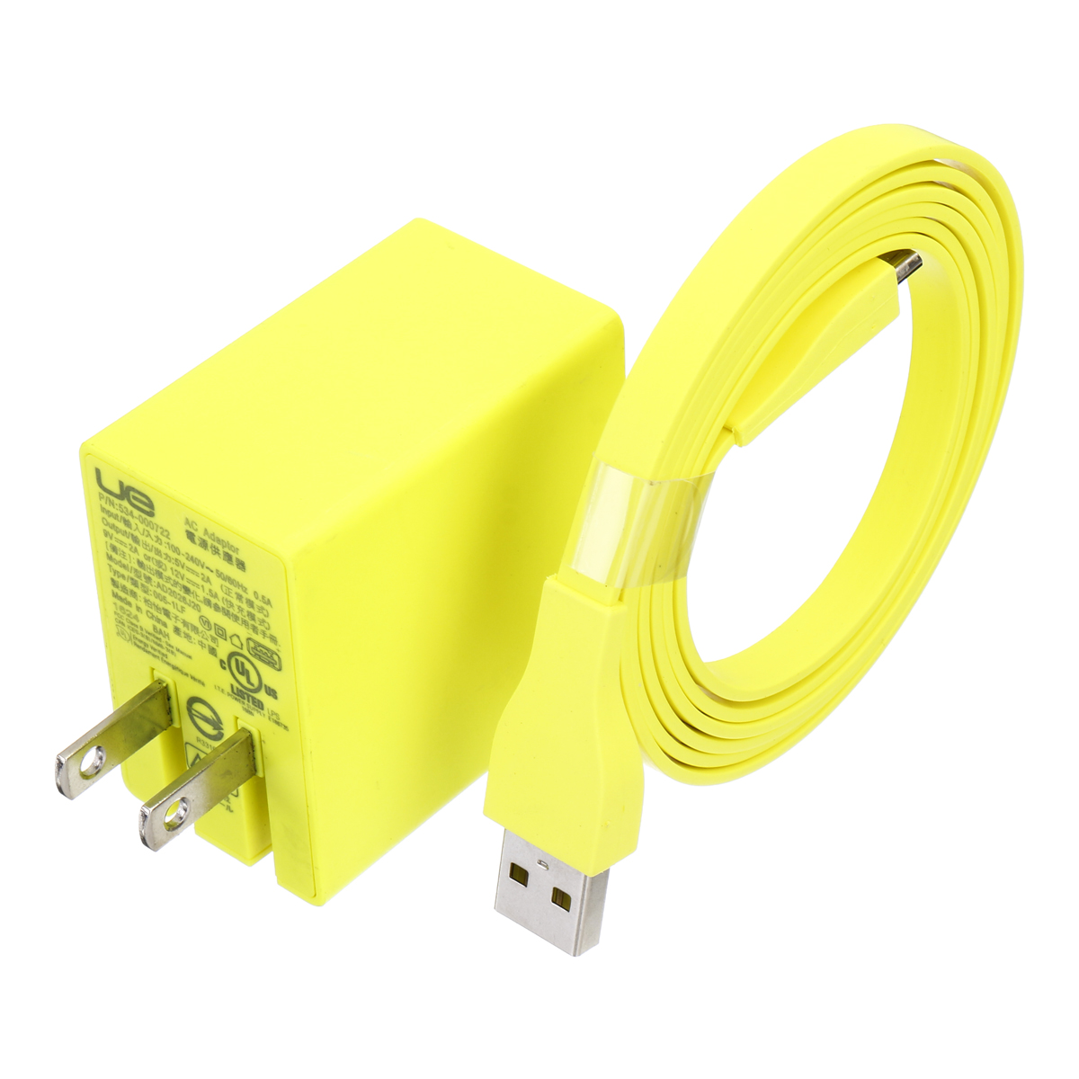 Inteligente Cargador Adaptador De Ca + Cable De Carga Cable Usb Amarillo Para Logitech Ue Boom Mega