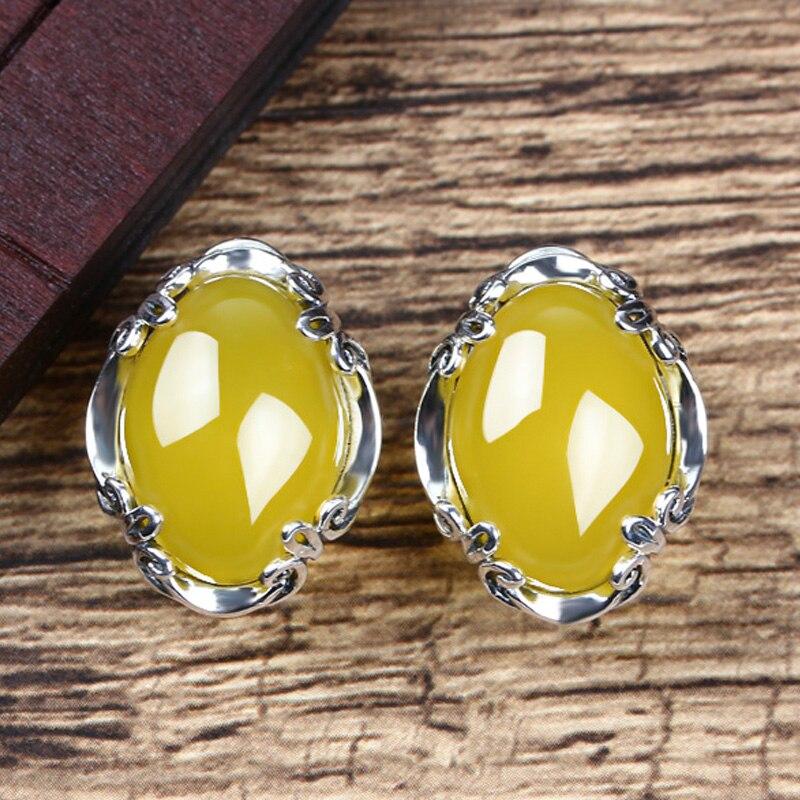 JIASHUNTAI 925 boucles d'oreilles en argent Sterling calcédoine Vintage Agate jaune pierre précieuse pour les femmes boucle d'oreille Thai argent bijoux fins - 4