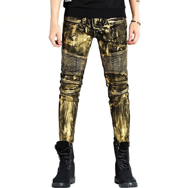 0678d02d7 € 28.84 42% de DESCUENTO|Newsosoo de moda de los hombres de Biker Jeans  Hola calle falda de Denim Pantalones para hombre de plata de oro de Moto ...