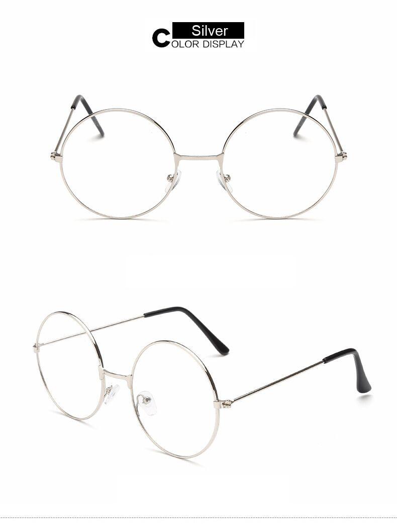 Fashion Vintage Retro Metal Frame Clear Lens Glasses Nerd Geek Eyewear Eyeglasses Black Oversized Round Circle Eye Glasses