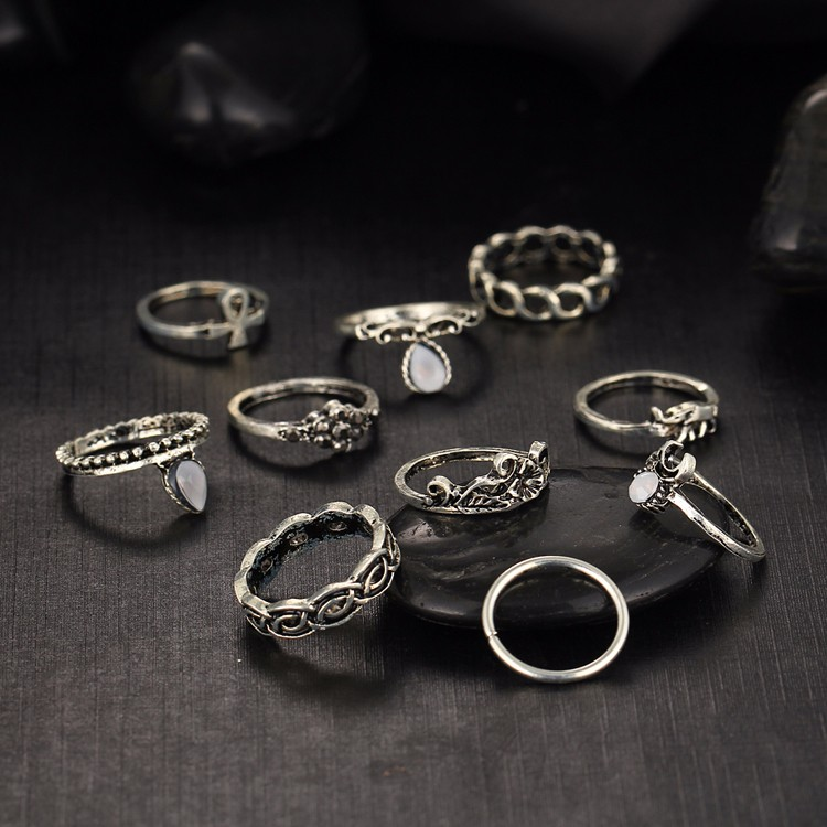 HTB1dHElMVXXXXbPXXXXq6xXFXXXf Fashionable Turkish Boho Vintage Punk Retro Style Midi Ring Set For Women - 2 Colors
