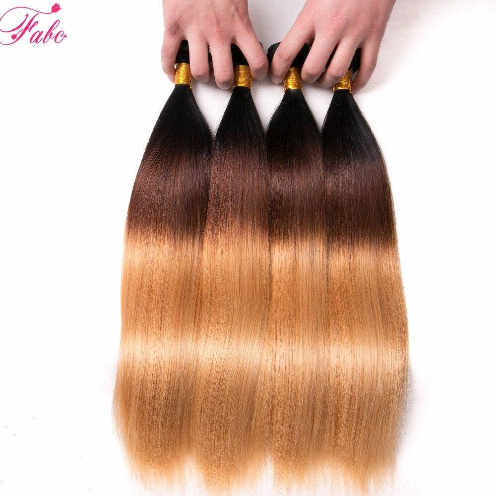 FABC hair 3Tone malaysian Straight Hair 4 Bundles Ombre Human Hair Weave Bundles Non Remy Hair Extensions