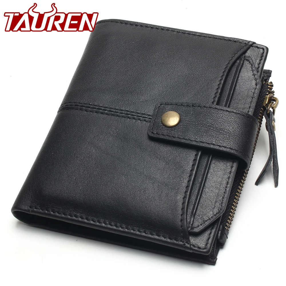 100% Genuine Leather Men Wallets Short Coin Purse Small Vintage Wallet Cowhide Leather Card Holder Pocket Purse Men Wallets