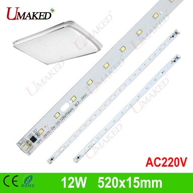 """12 W 520x15 מ""""מ AC220V תאורת מנורת LED, SMD2835 הוביל אור בר PCB משולב IC נהג עבור LED צינורות"""