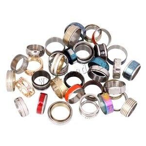 Image 5 - Edelstahl Schmuck Ring 100 stücke/box Geometrische Design Gemischt Stile Männer der Frauen Punk Finger Ring Anillo de dedo Großhandel lot