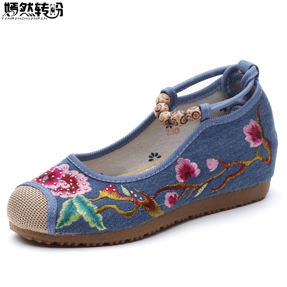 Chinese Women Pumps Floral Embroidered Shoes Casual Canvas Platforms Retro Ankle Beaded Strap Ladies Comfort Shoes Zapatos Mujer vintage flats shoes women casual cotton peacock embroidered cloth flat ankle buckles ladies canvas platforms zapatos mujer