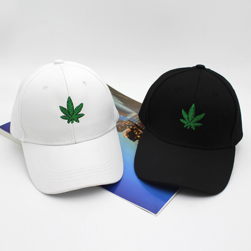 Embroidery Maple Leaf White Cap Weed Snapback 2018 New Fashion Hats For Men Women Cotton Swag Hip Hop Fitted Baseball Caps