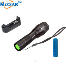 EZK20 9000 lumens LED flashlight CREE XM-L t6 flashlight Zoomable lamp + 1 * 18650 5000mAh rechargeable battery + EU/US Charger